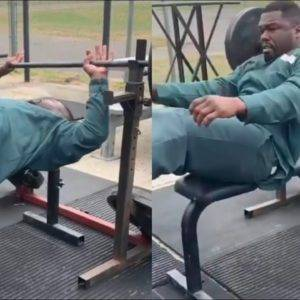 50 Cent Shows Off Strength With Fake Weights