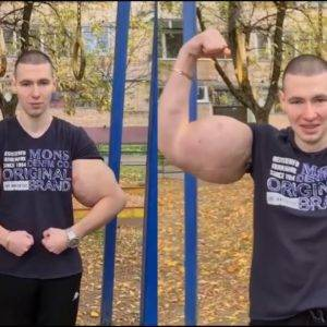 Russian Guy Proves Strength With Fake Muscles