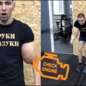 Russian Guy Refills His Arms With Oil